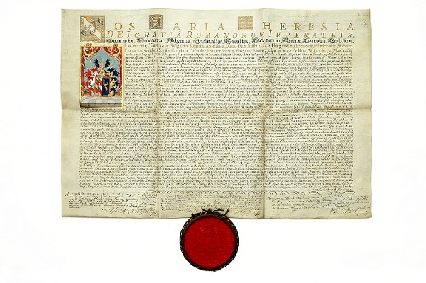 Erbová listina pre Gottfrieda Habermayera, Mária Terézia, Bratislava 25. marca 1760
