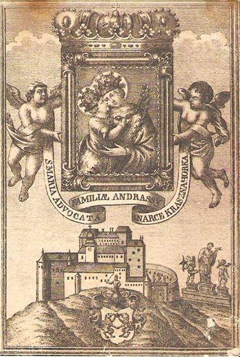 Stylizovana podoba hradu s patronkou Andrassyovcov na rytine z 18. stor.